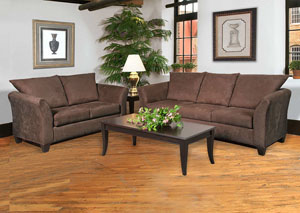 Sienna Chocolate Stationary Sofa and Loveseat,ABF Serta Hughes