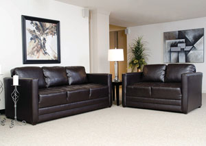 San Marino Chocolate Stationary Sofa and Loveseat,ABF Serta Hughes