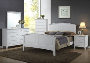 Daniels White Queen Panel Bed w/ Dresser and Mirror,ABF Lifestyle