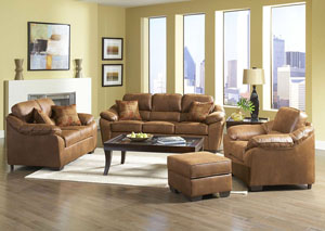 Laramie Tanner Verve Spice Stationary Microfiber Sofa and Loveseat