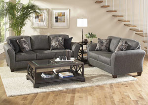 Stoked Ashes Candella Pewter Onyx Stationary Sofa and Loveseat,ABF Serta Hughes