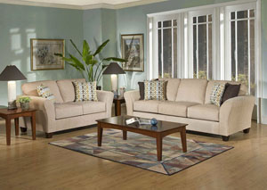 Viewpoint Tan Flair Spa Coffee Stationary Sofa and Loveseat,ABF Serta Hughes