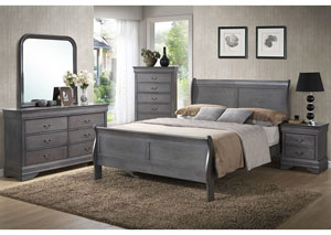 Louis Gray Queen Sleigh Bed w/ Dresser and Mirror,ABF Lifestyle