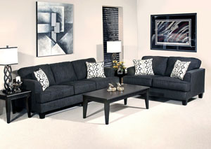 Soprano Ebony Handcuff Trance Stationary Sofa and Loveseat,ABF Serta Hughes