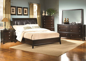Leonardo Espresso Queen Upholstered Bed,ABF Lifestyle