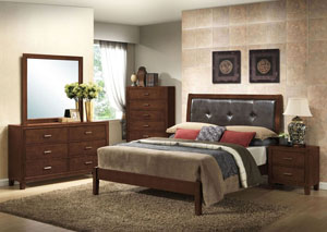 Murry Walnut Queen Upholstered Bed w/ Dresser and Mirror