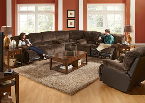Escalade Chocolate & Walnut Power Reclining Sectional