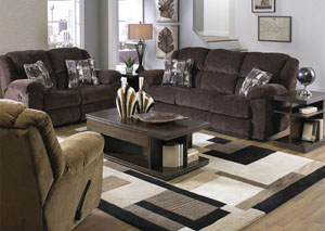 Transformer Chocolate & Shadow Ultimate Sofa w/3 Recliners/1 Drop-Down Table & Reclining Loveseat,Catnapper