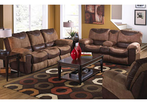 Portman Saddle & Chocolate Reclining Sofa & Loveseat