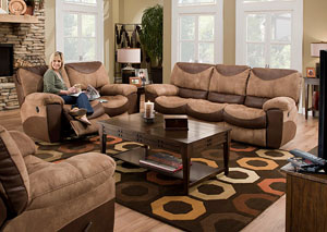 Portman Saddle/Chocolate Reclining Sofa & Loveseat