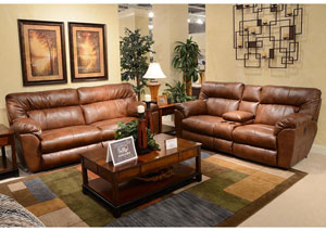 Nolan Chestnut Extra Wide Power Reclining Sofa & Loveseat w/ Storage & Cupholders