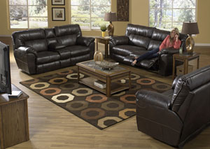 Nolan Godiva Extra Wide Reclining Sofa & Loveseat w/ Storage & Cupholders,Catnapper