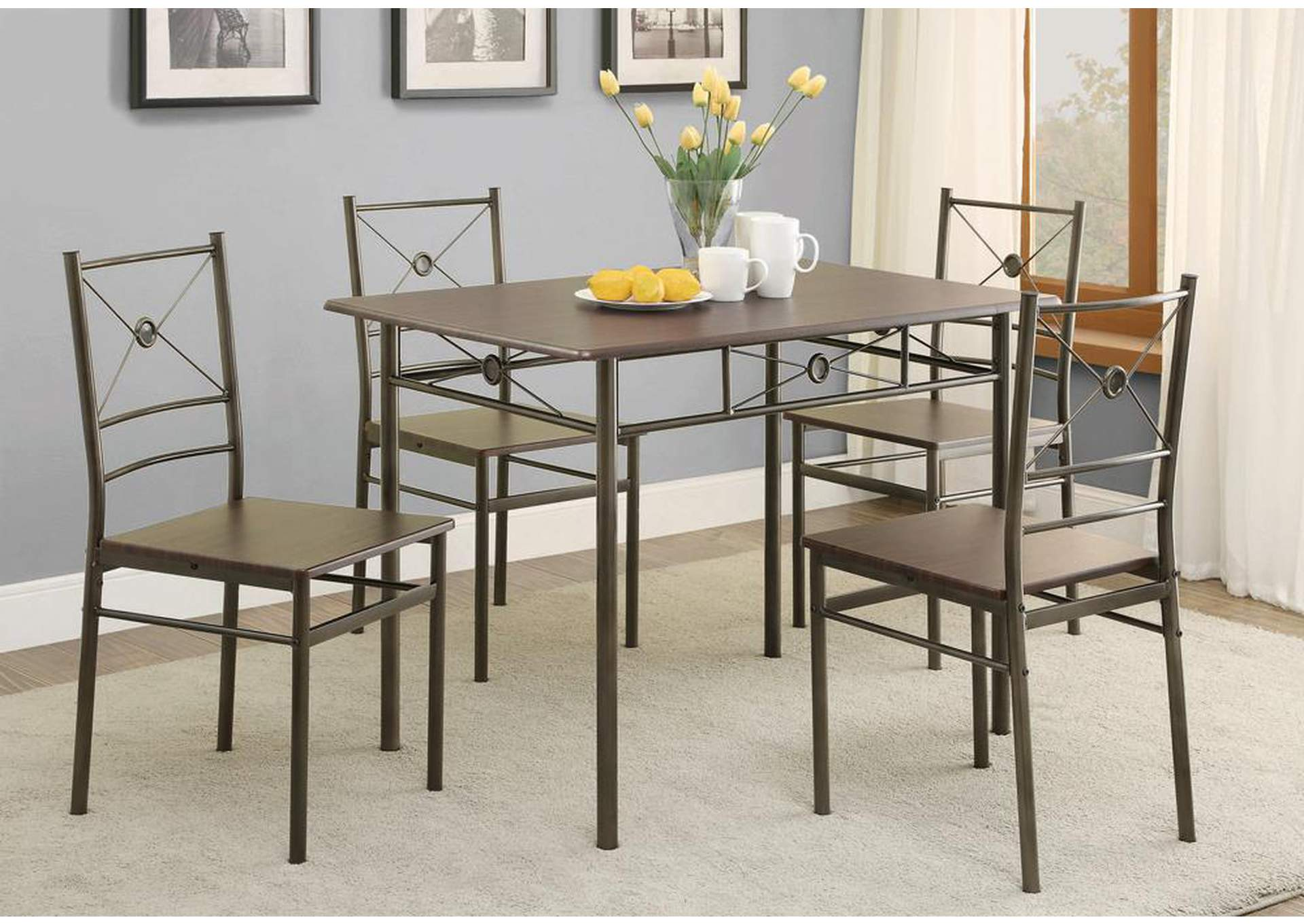 Affordable Furniture Houston Walnut 5 Pc Set