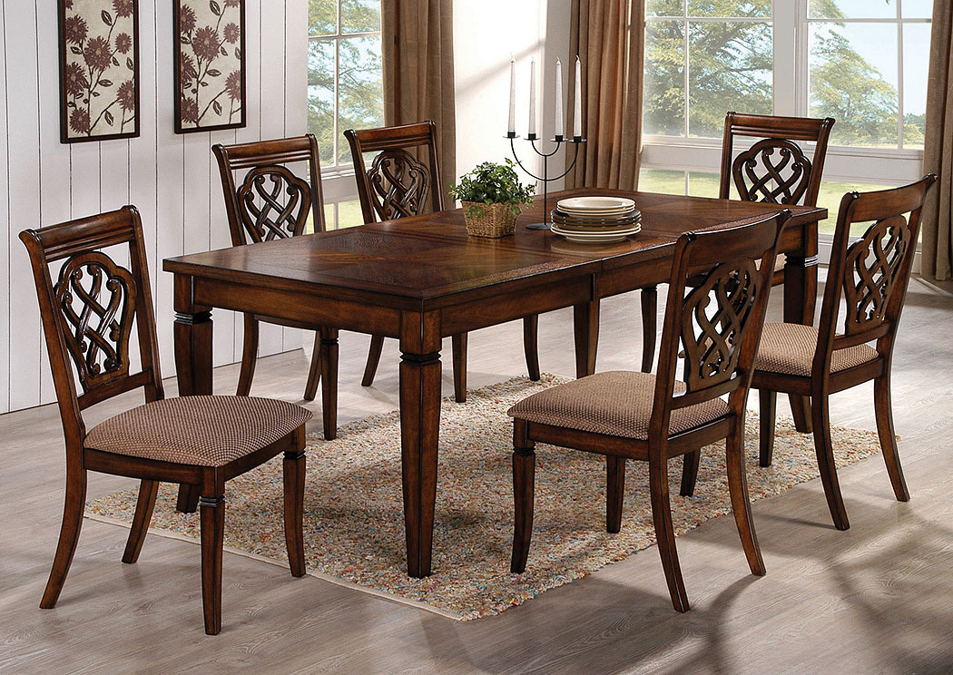 Hometown Furniture Co Oak Dining Table W Extension Leaf 6 Side Chairs