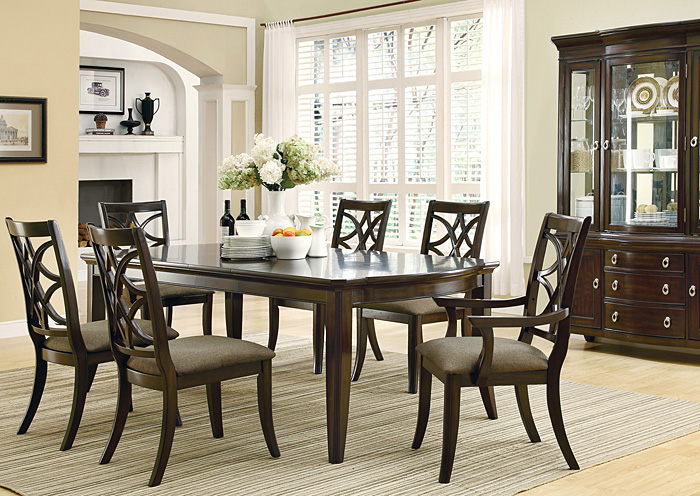 espresso dining table w 4 side chairs 2 arm chairs buffet hutch