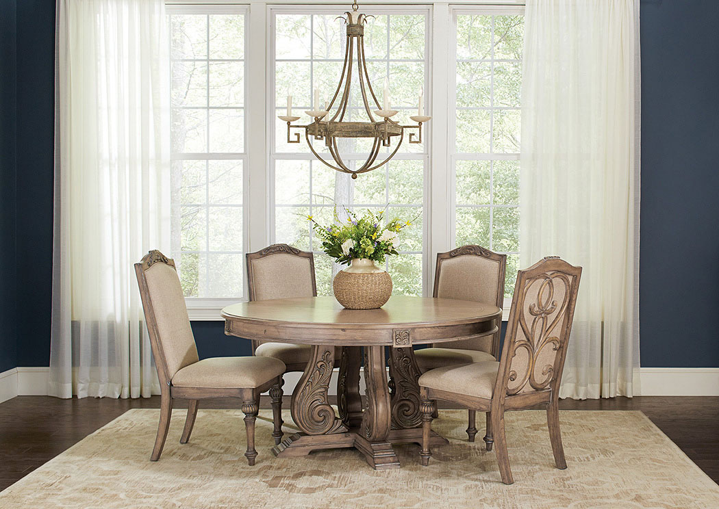 National Furniture Outlet Westwego La Antique Linen Round Dining Table