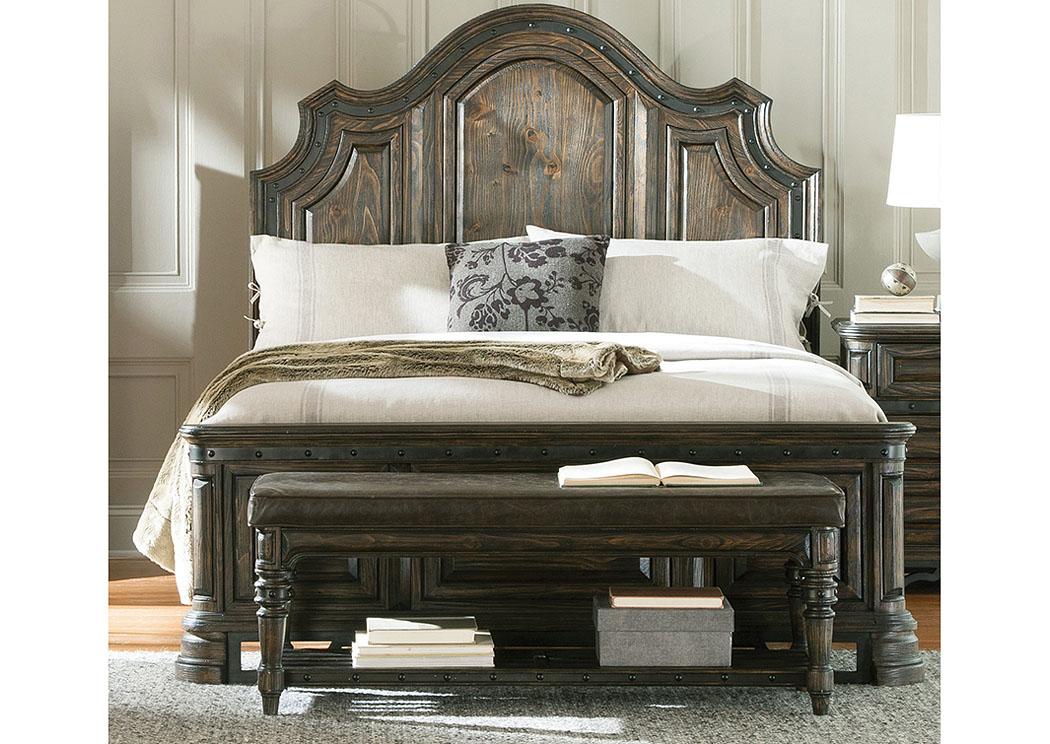 National Furniture Outlet Westwego La Dark Brown Wire Brush Queen Bed Dresser Mirror