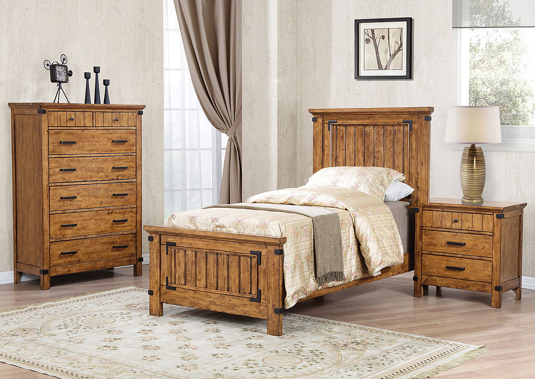 Your Cost Furniture Natural & Honey Twin Panel Bed