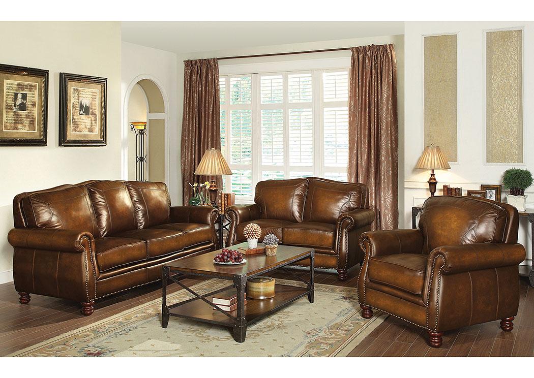 WCC Furniture Lafayette LA Brown Sofa and Loveseat