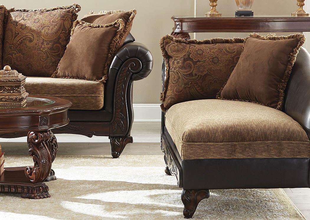 Oak furniture liquidators garroway russet and chocolate chaise for Liquidation chaise
