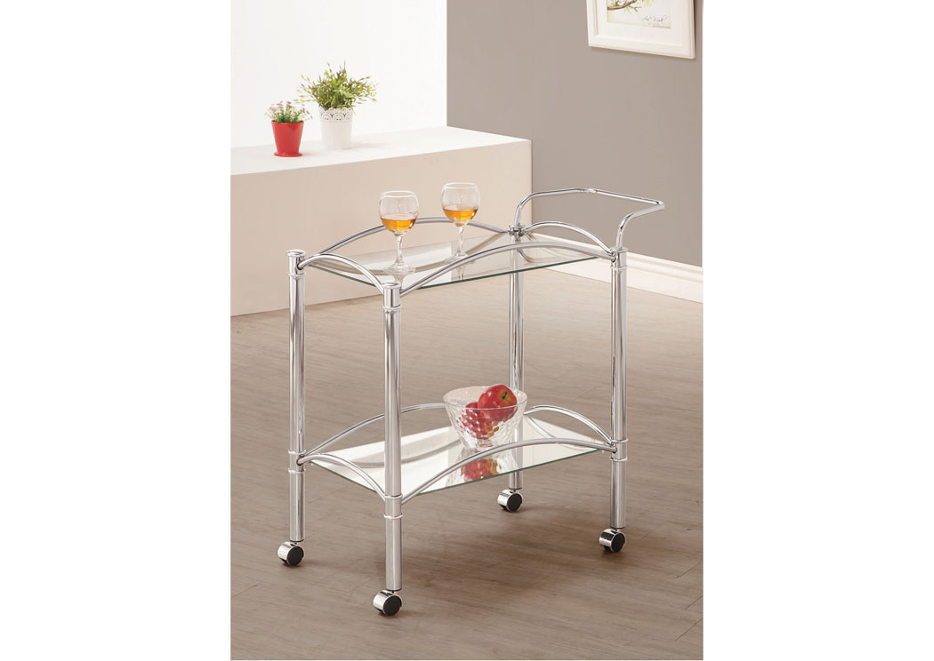 Fat Daddy s Furniture Chrome Serving Cart