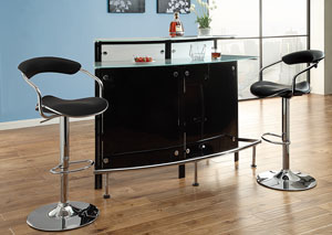 Chrome & Black Bar Table