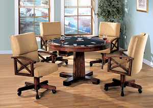 Black & Oak Convertible Dining Table (Bumper Pool & Poker)