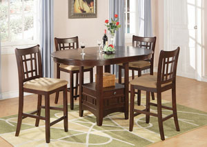 Counter Height Table w/ 4 Tan & Brown Cherry 24in Bar Stools,Coaster Furniture