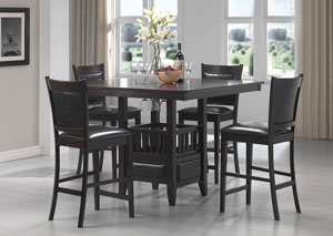 Jaden Cappuccino Counter Height Table w/ 4 Bar Stools