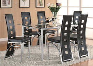 Table w/ 6 Black & Silver Dining Chairs