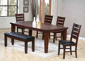 Dining Table w/ 4 Black & Oak Side Chairs