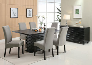 Stanton Black Dining Table w/ 6 Grey Chairs & Server,Coaster Furniture