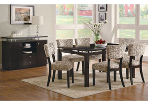 Libby Cappuccino Dining Table w/ 6 Side Chairs & Server,Coaster Furniture