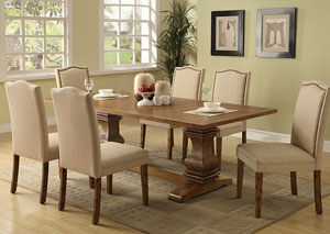 Coffee Dining Table w/ 6 Ivory Parson Chairs,ABF Coaster Furniture