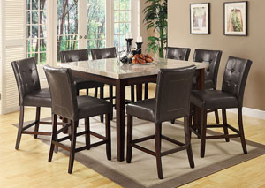 Milton Cappuccino Counter Height Table w/ 8 Counter Height Stools