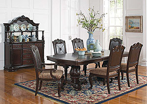 Dark Cherry Dining Table w/ 4 Side Chairs & 2 Arm Chairs
