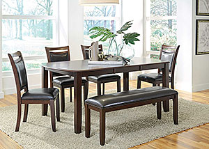 Dark Brown & Cherry Dining Table w/ 4 Chairs & Bench