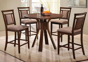 Colona Dark Brown Counter Height Table & 4 Counter Height Chairs