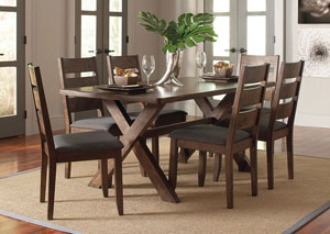 Knotty Nutmeg Dining Table & Four Dining Chairs,Coaster Furniture