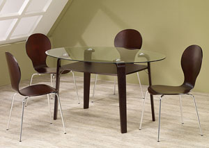 Cappuccino Glass Dining Table w/ 4 Cappuccino Chairs