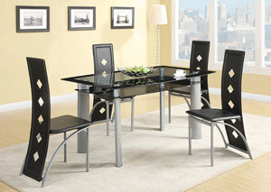Fontana Silver Metal Dining Table w/ 4 Side Chairs