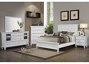 Camellia White Queen Bed, Dresser, Mirror & Nightstand,Coaster Furniture