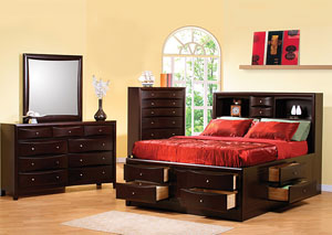 Phoenix Cappuccino Queen Storage Bed, Dresser, Mirror & Chest,Coaster Furniture