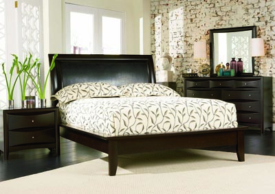 Phoenix Cappuccino Platform King Bed, Dresser & Mirror,Coaster Furniture