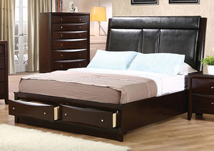 Phoenix Black & Cappuccino Queen Bed,Coaster Furniture