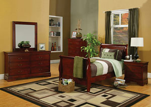 Louis Philippe Cherry Twin Size Bed, Dresser, Mirror, Chest & Night Stand,Coaster Furniture