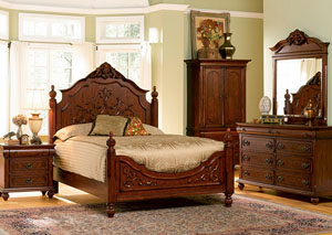 Isabella Oak Queen Bed - Carving, Dresser & Mirror