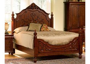 Isabella Oak Queen Bed - Carving