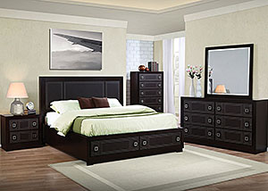 Merlot Queen Bed, Dresser & Mirror