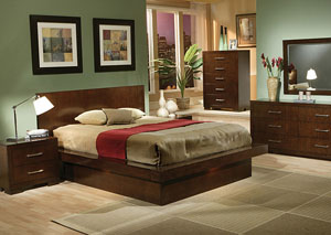 Jessica Cappuccino Queen Bed, Dresser, Mirror, Chest & Night Stand